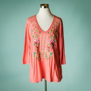 Johnny Was XL Floral Embroidered V Neck Top